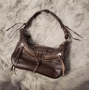TOD'S Brown Leather Braided Handle Shoulder Bag